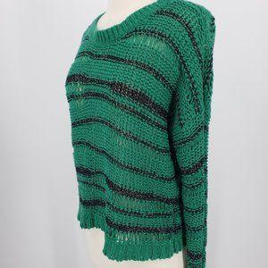 UO Open Weave Metallic Stripped Sweater